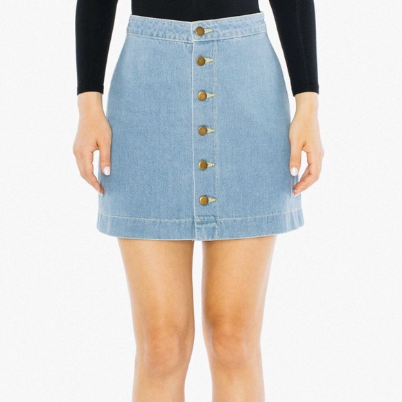 113f4758374220 American Apparel Dresses & Skirts - Light Wash A Line Button Down Denim  Skirt